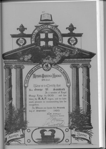 Loyal Orange Institution Member's Certificate, 1958.